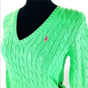 Green with Hot Pink Pony Cable Knit V Neck Sweater